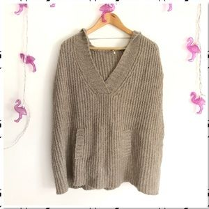 Free People Shawl Neck Hooded Chunky Knit Poncho